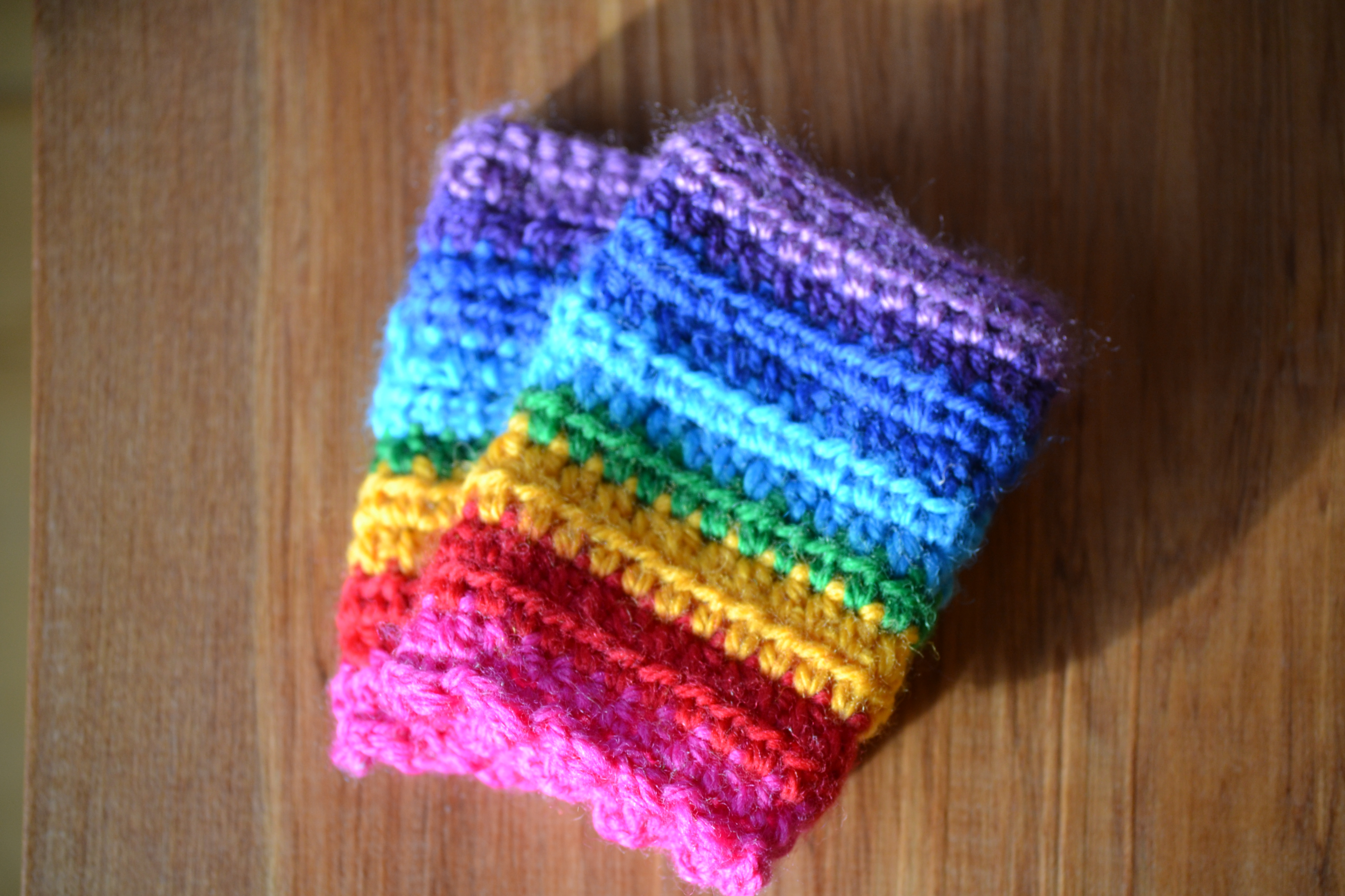 Rainbow mitts for Maia – The Green Dragonfly