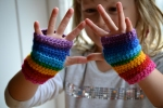 Rainbow fingerless mittens