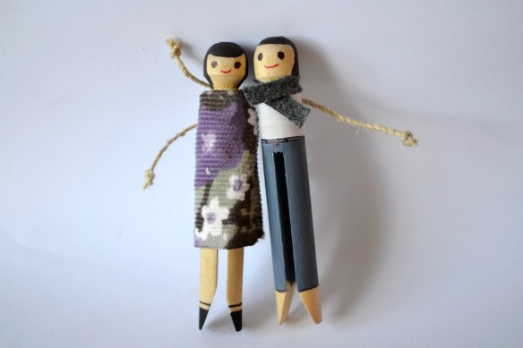 Wooden peg doll people